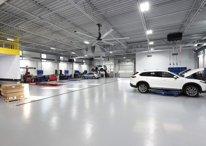 Interior Painting of Fox Mazda Body Shop Industrial Space